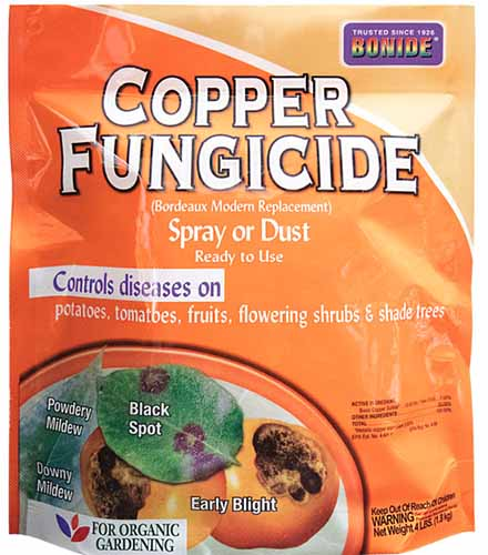 A close up square image of a package of Bonide Copper Fungicide isolated on a white background.