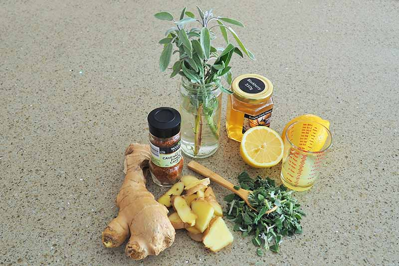 A close up horizontal image of the ingredients needed to make a soothing herbal tea.