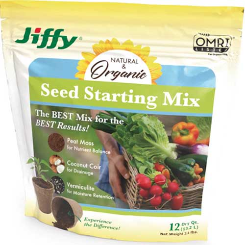 A close up square image of a package of Jiffy Seed Starting Mix isolated on a white background.