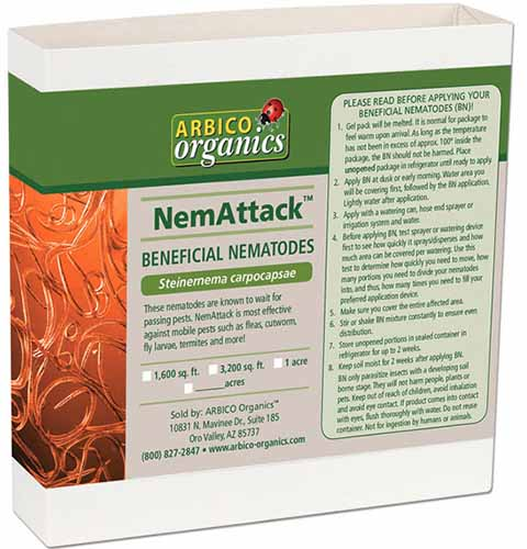 A close up square image of the packaging of NemAttack Sc Beneficial Nematodes isolated on a white background.