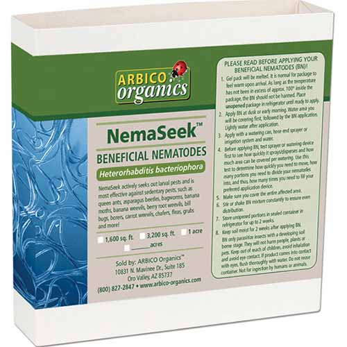 A close up square image of the packaging of NemaSeek Beneficial Nematodes isolated on a white background.