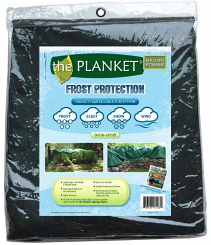 A close up square image of a packet of frost protection cover for plants.