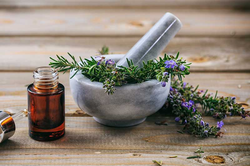 A close up horizontal image of a small pestle and mortar with rosemary sprigs set on a wooden surface and a small bottle of essential oil to the left of the frame.