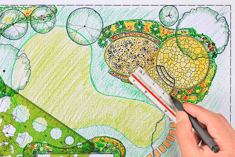 A close up horizontal image of a hand-drawn illustration of a garden plan.