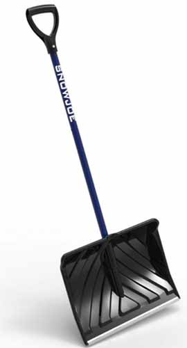A close up vertical image of a Snow Joe 18-inch shovel with a blue handle and black blade isolated on a white background.