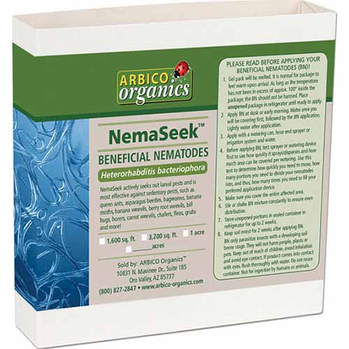 A close up horizontal image of the packaging of NemaSeek Beneficial Nematodes isolated on a white background.